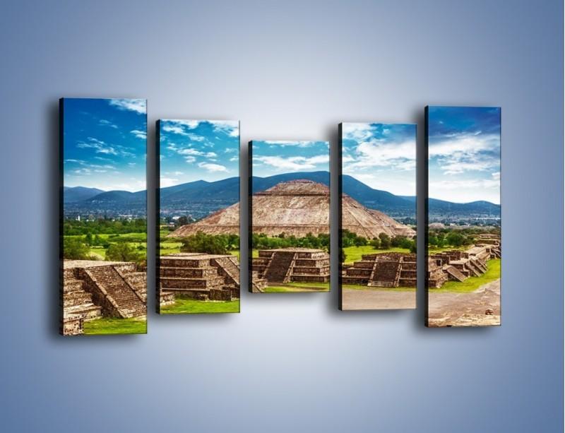Obraz na płótnie – Piramida Słońca w Meksyku – pięcioczęściowy AM450W2
