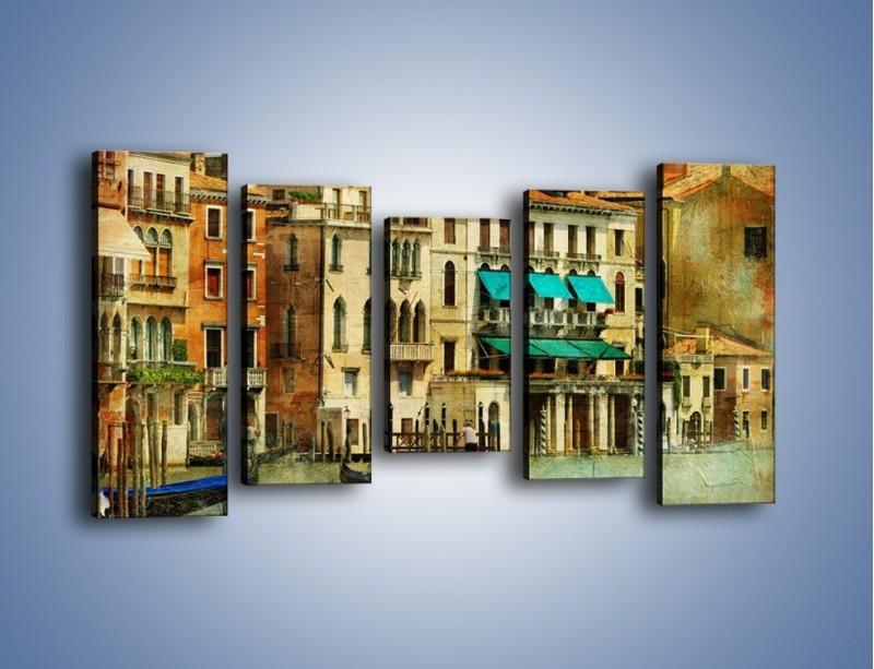Obraz na płótnie – Weneckie domy w stylu vintage – pięcioczęściowy AM459W2