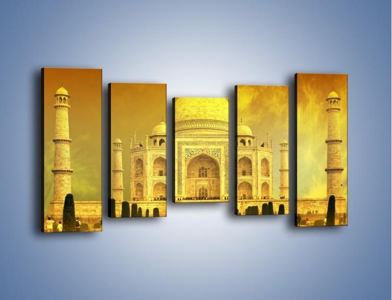 Obraz na płótnie – Tadź Mahal w żółtym kolorze – pięcioczęściowy AM465W2
