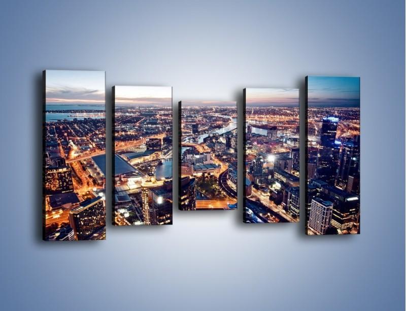 Obraz na płótnie – Panorama Melbourne po zmierzchu – pięcioczęściowy AM470W2