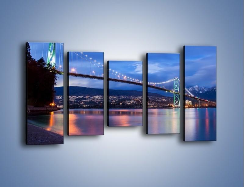 Obraz na płótnie – Most Lions Gate w Vancouver – pięcioczęściowy AM471W2