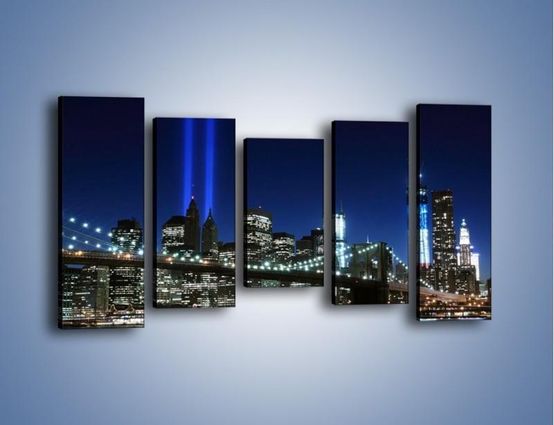 Obraz na płótnie – Most Brookliński nocą – pięcioczęściowy AM476W2