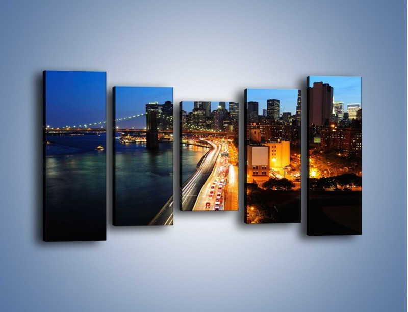 Obraz na płótnie – Manhattan wieczorową porą – pięcioczęściowy AM477W2