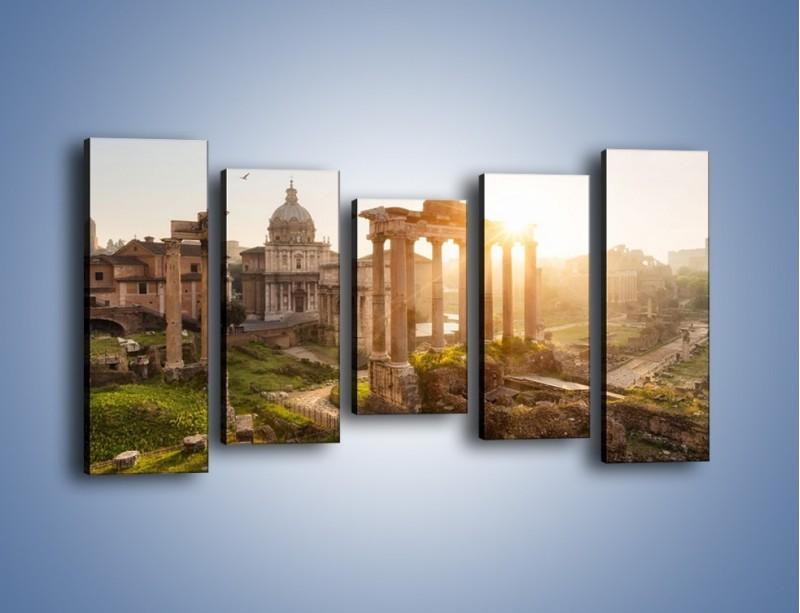 Obraz na płótnie – Rzymskie ruiny o zachodzie słońca – pięcioczęściowy AM480W2