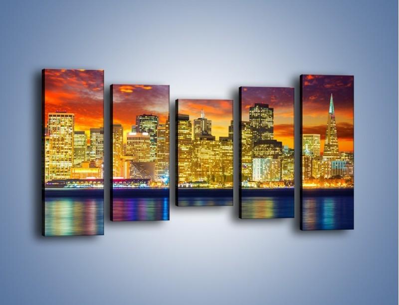 Obraz na płótnie – Wieżowce San Francisco nad wodą – pięcioczęściowy AM481W2