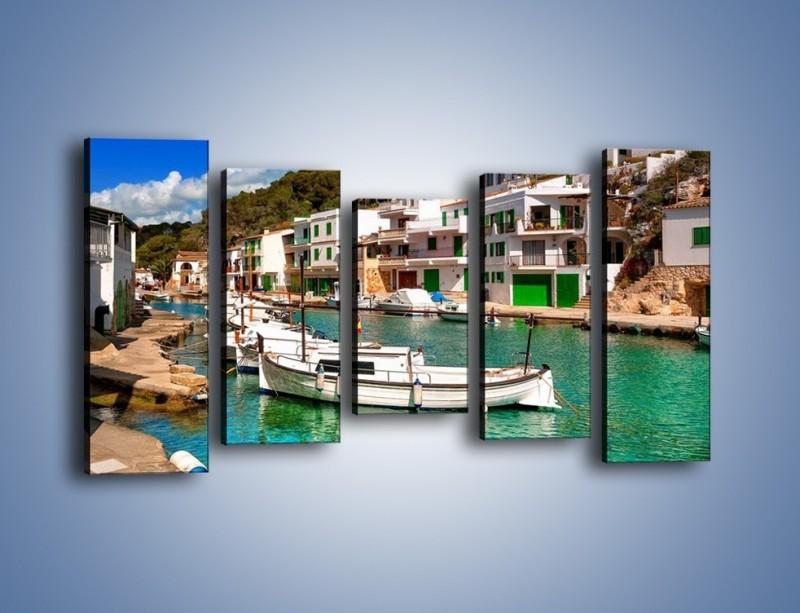 Obraz na płótnie – Domki nad wodą na Majorce – pięcioczęściowy AM484W2