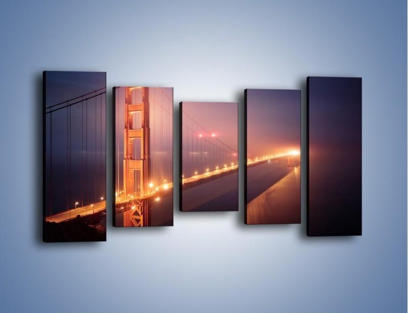 Obraz na płótnie – Most Golden Gate w nocnej mgle – pięcioczęściowy AM490W2
