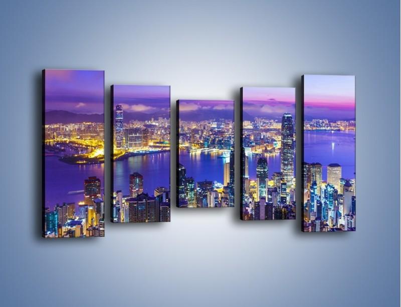 Obraz na płótnie – Wieczorna panorama Hong Kongu – pięcioczęściowy AM505W2