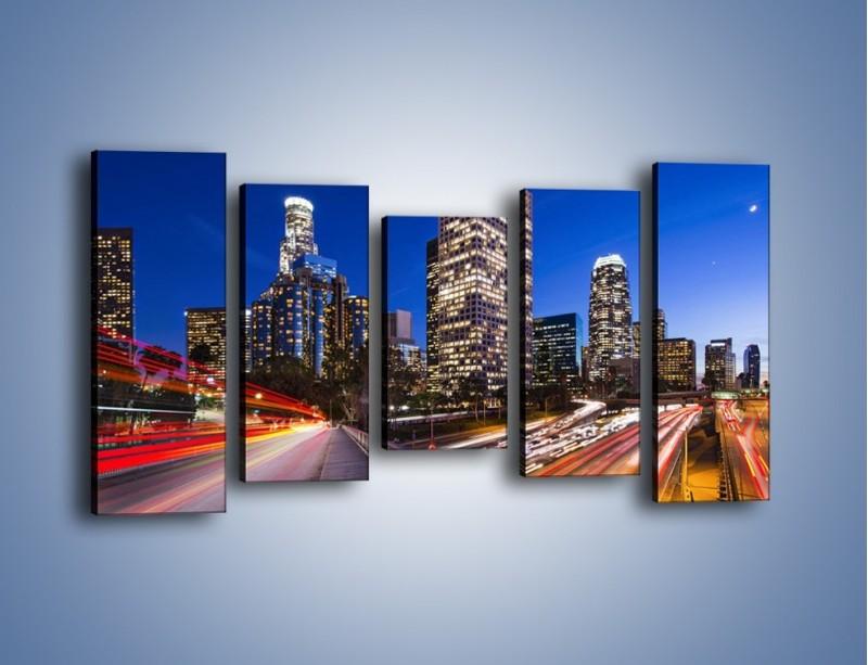 Obraz na płótnie – Los Angeles w wieczornych światłach – pięcioczęściowy AM522W2