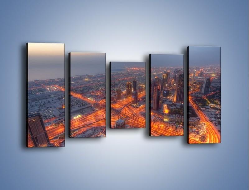 Obraz na płótnie – Panorama Dubaju o poranku – pięcioczęściowy AM538W2