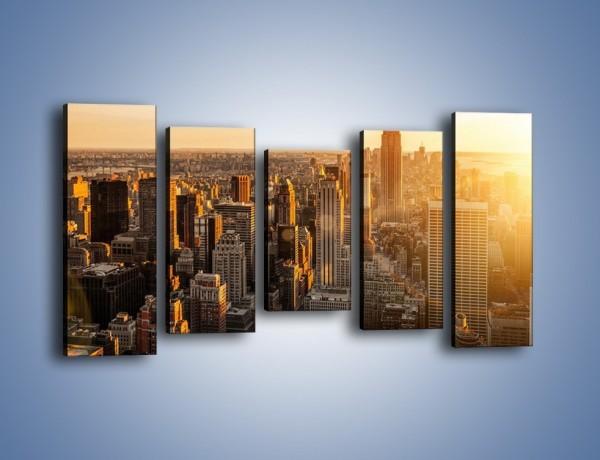 Obraz na płótnie – Zachód słońca nad Nowym Jorkiem – pięcioczęściowy AM550W2