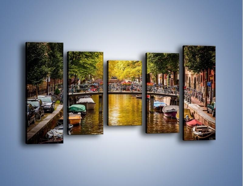 Obraz na płótnie – Most nad amsterdamskim kanałem – pięcioczęściowy AM552W2