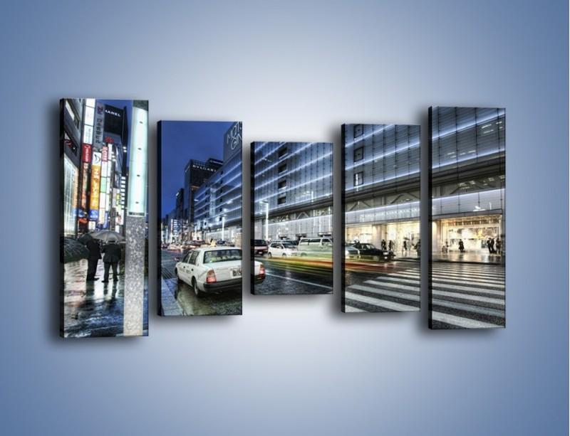 Obraz na płótnie – Ulica Tokyo w deszczu – pięcioczęściowy AM613W2