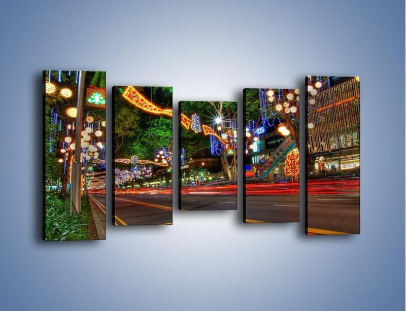 Obraz na płótnie – Noworoczne dekoracje w Singapurze – pięcioczęściowy AM616W2