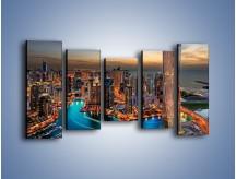Obraz na płótnie – Centrum Dubaju wieczorową porą – pięcioczęściowy AM656W2