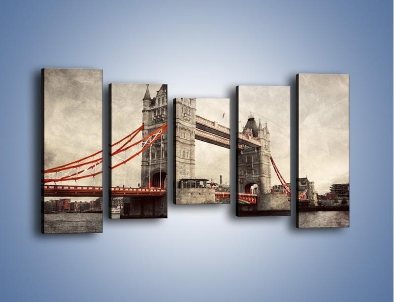 Obraz na płótnie – Tower Bridge w stylu vintage – pięcioczęściowy AM668W2