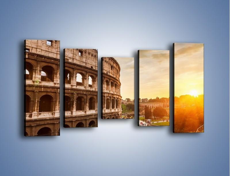 Obraz na płótnie – Rzymskie Koloseum o zachodzie słońca – pięcioczęściowy AM684W2