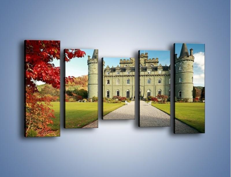 Obraz na płótnie – Zamek Inveraray w Szkocji – pięcioczęściowy AM691W2