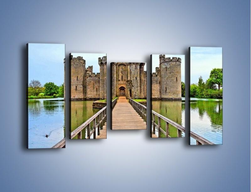 Obraz na płótnie – Zamek Bodiam w Wielkiej Brytanii – pięcioczęściowy AM692W2