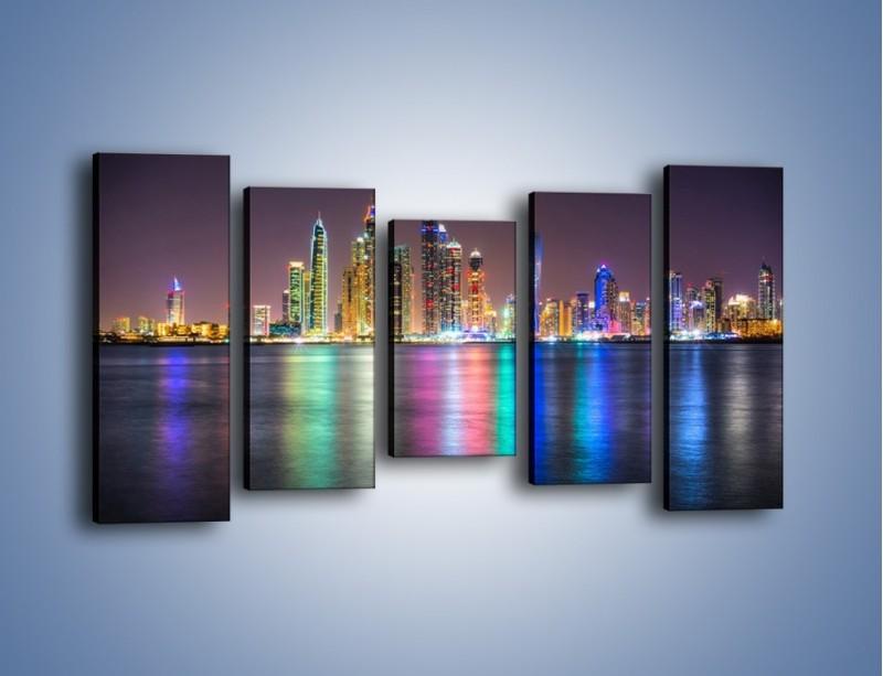Obraz na płótnie – Kolorowe drapacze chmur w Dubaju – pięcioczęściowy AM724W2