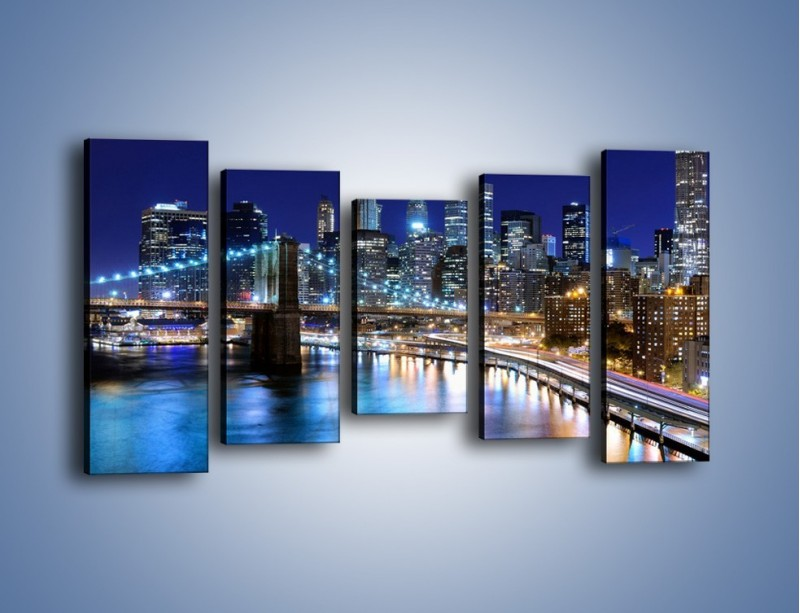 Obraz na płótnie – Nocne światła Nowego Yorku – pięcioczęściowy AM726W2