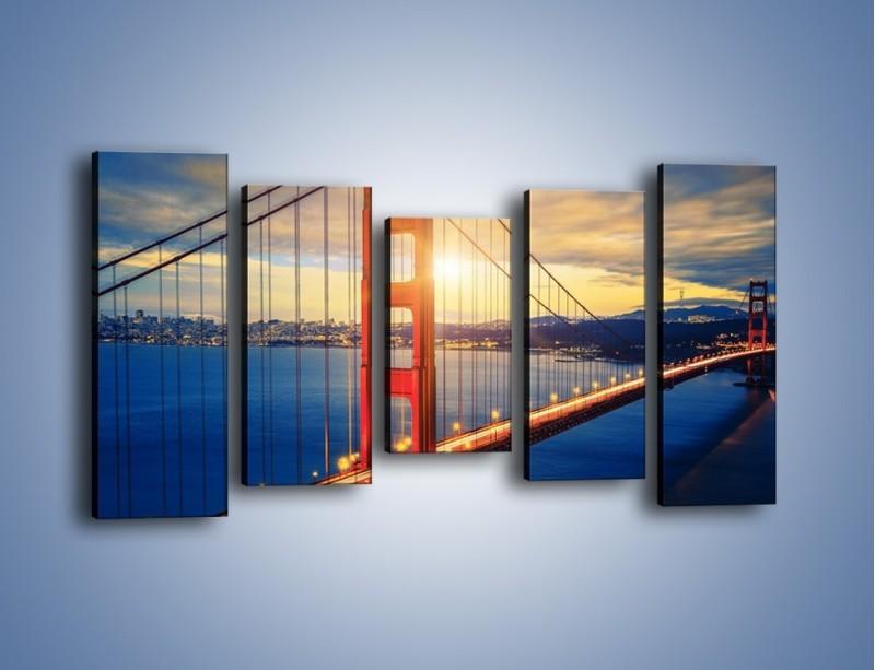Obraz na płótnie – Zachód słońca nad Mostem Golden Gate – pięcioczęściowy AM738W2