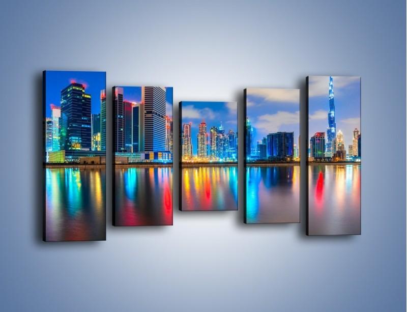 Obraz na płótnie – Kolory Dubaju odbite w wodzie – pięcioczęściowy AM740W2