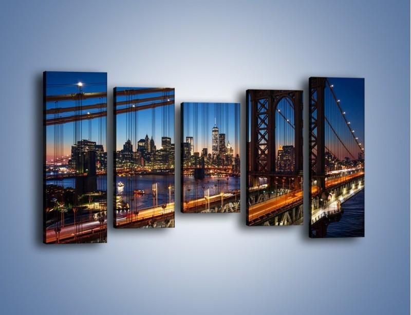Obraz na płótnie – Nowojorskie mosty na tle Manhattanu – pięcioczęściowy AM751W2