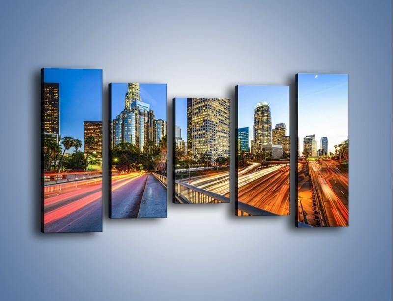 Obraz na płótnie – Światła Los Angeles o zmierzchu – pięcioczęściowy AM753W2
