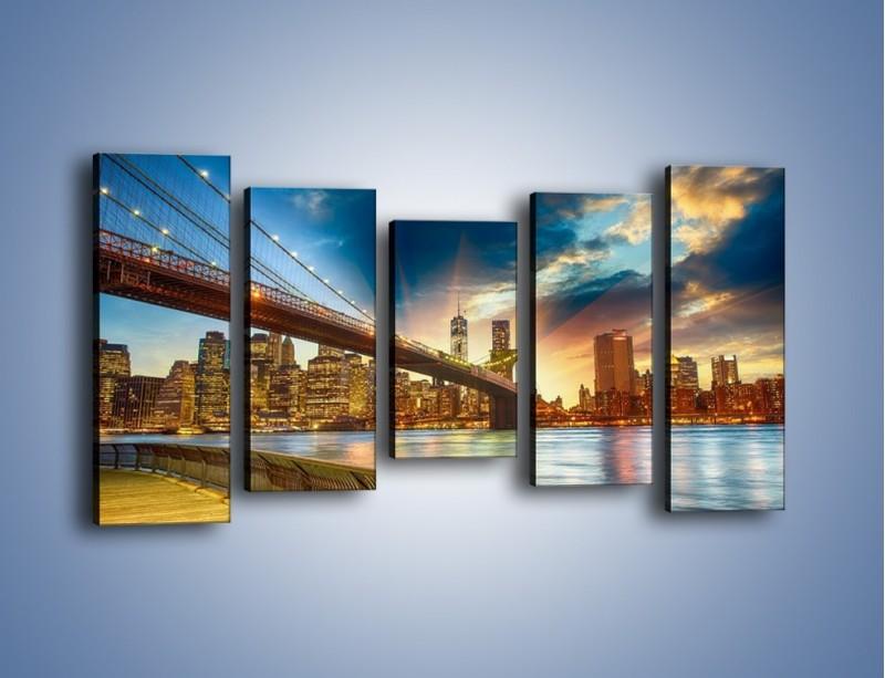 Obraz na płótnie – Most w Nowym Jorku o zmierzchu – pięcioczęściowy AM754W2
