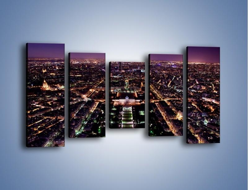 Obraz na płótnie – Panorama Paryża z Wieży Eiffla – pięcioczęściowy AM764W2