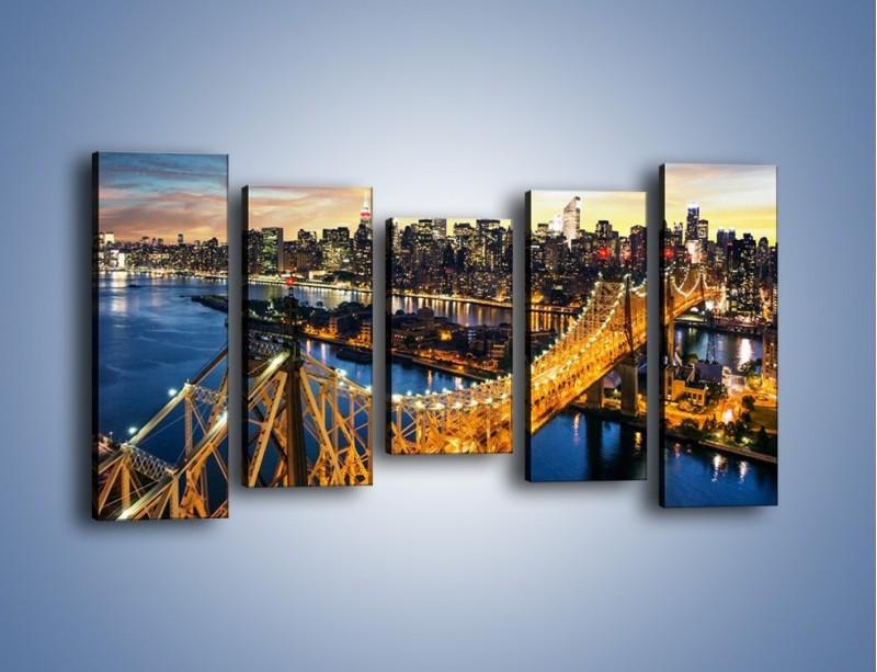 Obraz na płótnie – Queensboro Bridge w Nowym Yorku – pięcioczęściowy AM768W2