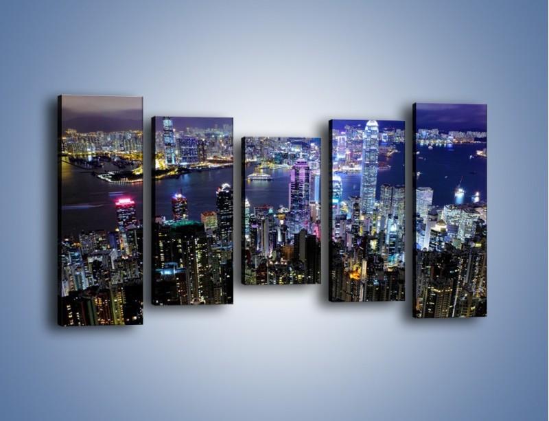 Obraz na płótnie – Nocna panorama Hong Kongu – pięcioczęściowy AM772W2