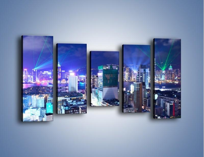 Obraz na płótnie – Pokaz laserów nad Hong Kongiem – pięcioczęściowy AM796W2