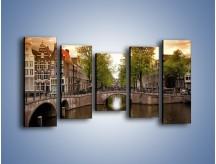 Obraz na płótnie – Amsterdamski kanał – pięcioczęściowy AM800W2
