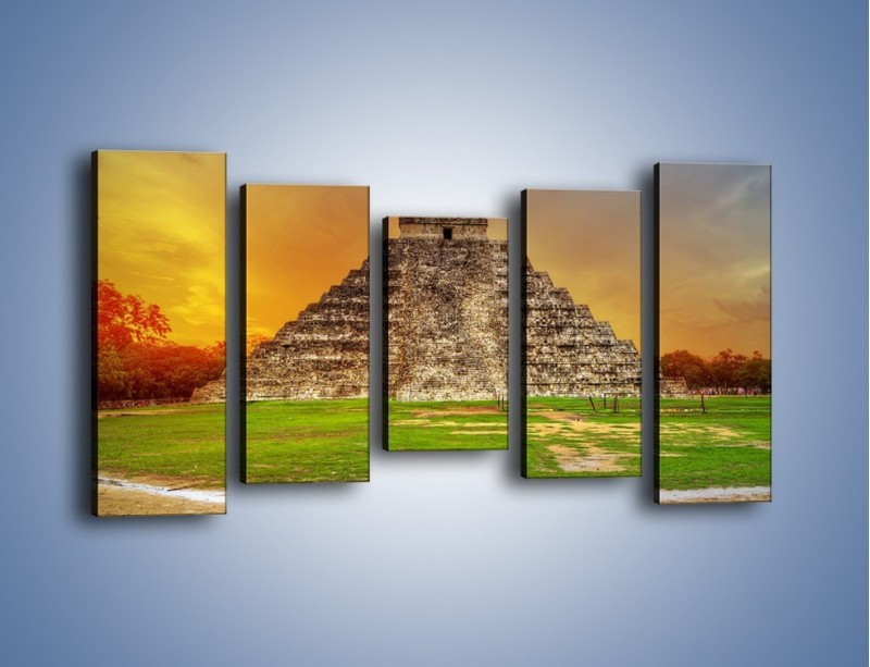 Obraz na płótnie – Piramida Kukulkana w Meksyku – pięcioczęściowy AM814W2