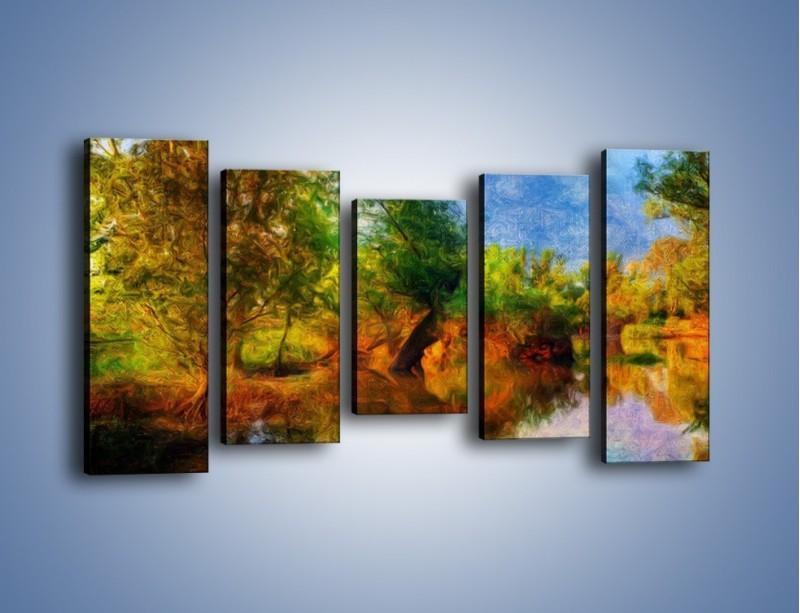 Obraz na płótnie – Drzewa w wodnym lustrze – pięcioczęściowy GR010W2