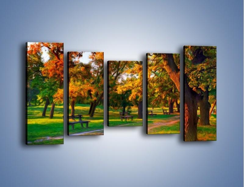 Obraz na płótnie – Ławeczka w parku – pięcioczęściowy GR011W2