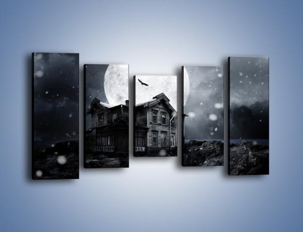 Obraz na płótnie – Nietoperze i pełnia księżyca – pięcioczęściowy GR012W2