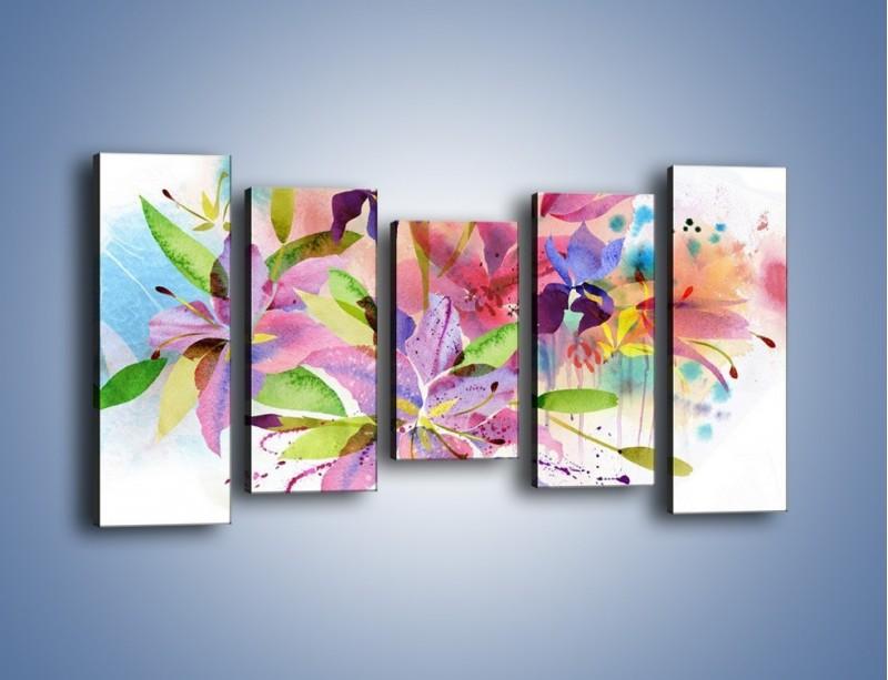 Obraz na płótnie – Kolory zachowane w kwiatach – pięcioczęściowy GR043W2
