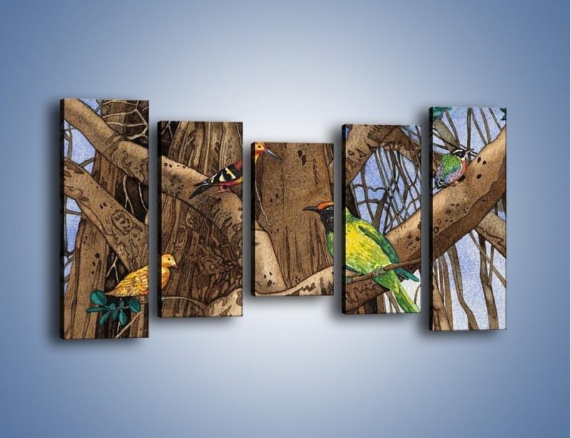 Obraz na płótnie – Mali przyjaciele na drzewie – pięcioczęściowy GR050W2