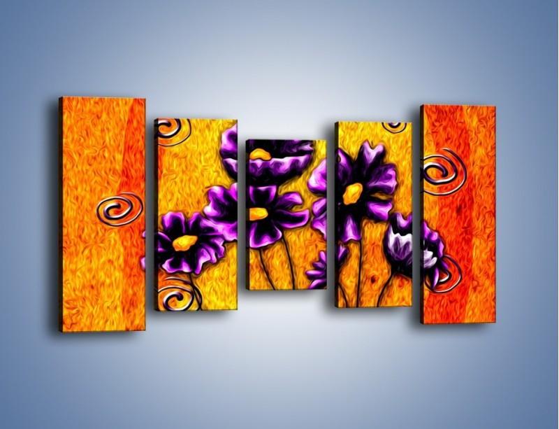 Obraz na płótnie – Bratki w ogniu – pięcioczęściowy GR090W2