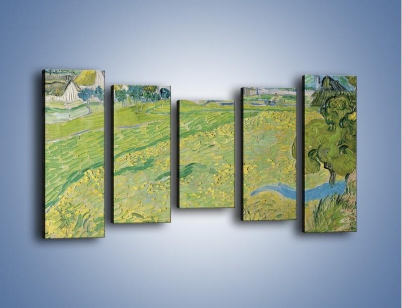 Obraz na płótnie – Łąka i małe domki – pięcioczęściowy GR105W2
