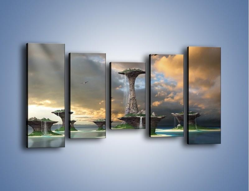 Obraz na płótnie – Kamienne fontanny pełne magii – pięcioczęściowy GR130W2