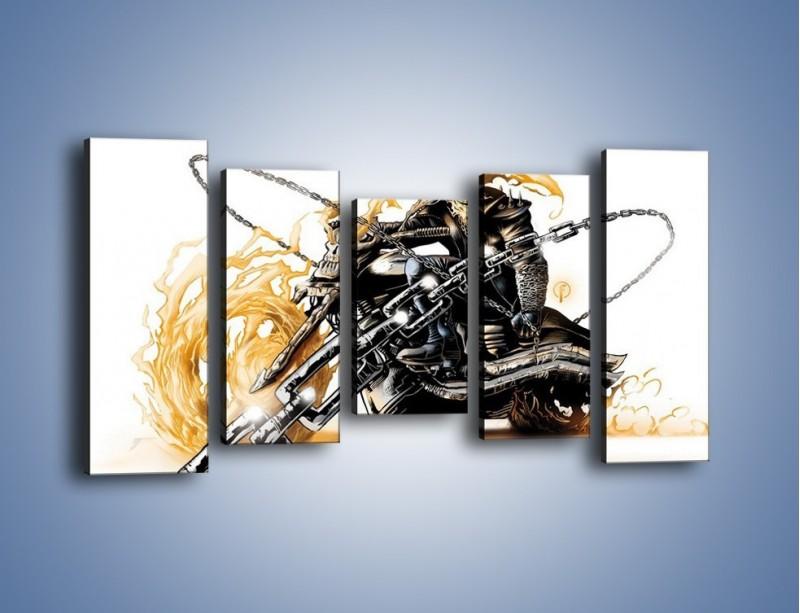 Obraz na płótnie – Mroczna postać na motorze – pięcioczęściowy GR167W2