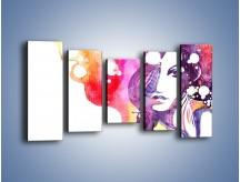 Obraz na płótnie – Barwy w otoczeniu kobiety – pięcioczęściowy GR296W2