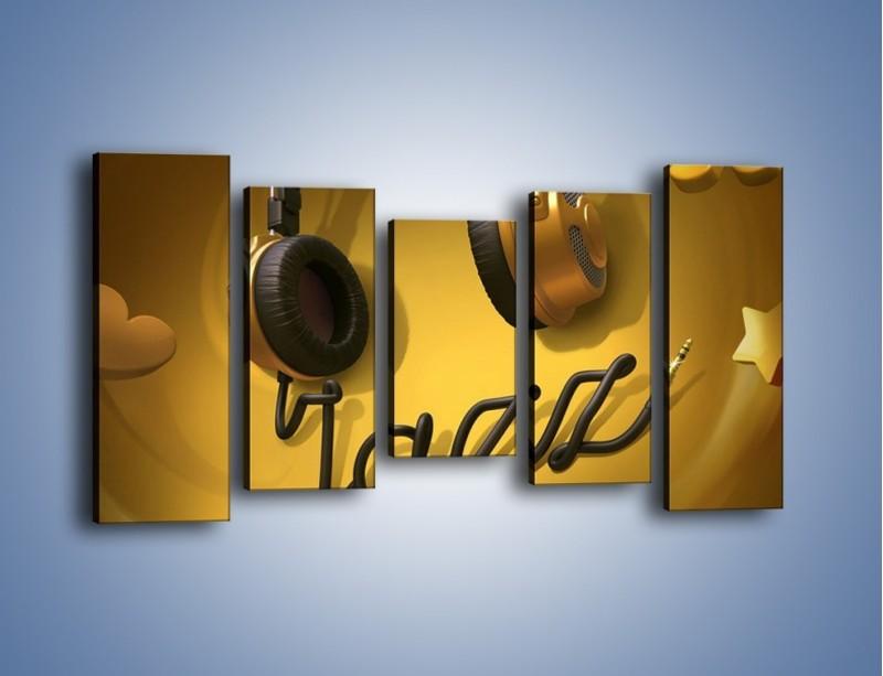 Obraz na płótnie – Złote nuty jazzu – pięcioczęściowy GR305W2