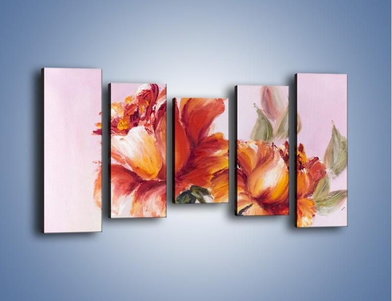 Obraz na płótnie – Kwiaty na płótnie malowane – pięcioczęściowy GR322W2
