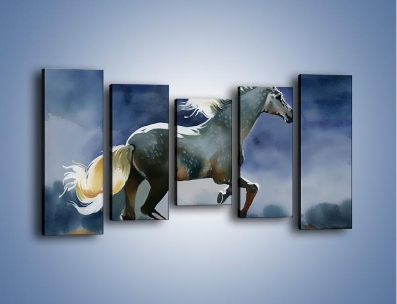 Obraz na płótnie – Bieg z koniem przez noc – pięcioczęściowy GR339W2