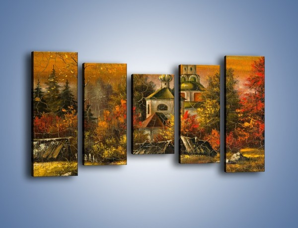 Obraz na płótnie – Kaplica późną jesienią – pięcioczęściowy GR369W2